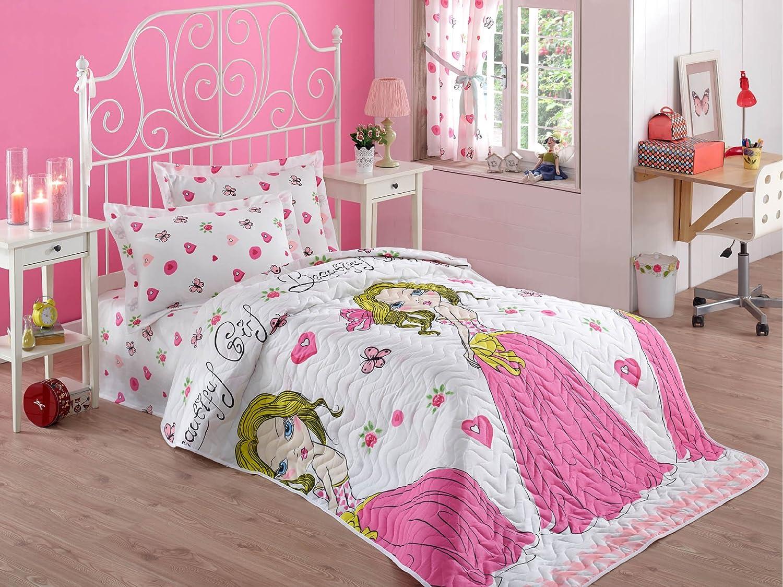 decomood Girlsプリンセス寝具、シングル/ツインサイズベッドスプレッド/ Coverletセット、女の子寝具、2個、ピンクホワイト B07BW82NPM