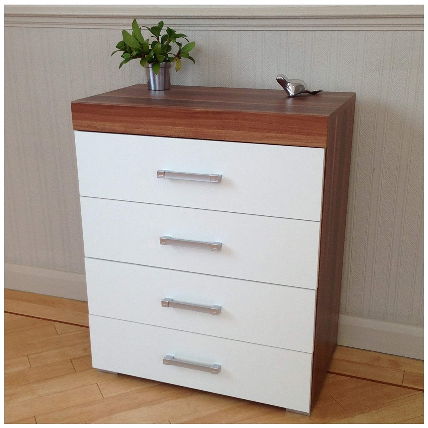 DRP Trading White & Walnut Chest of Drawer - 4 Draw - Bedroom Furniture