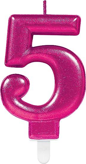 CARPETA® Número Vela * Número 5 * en rosa con ranuras ...