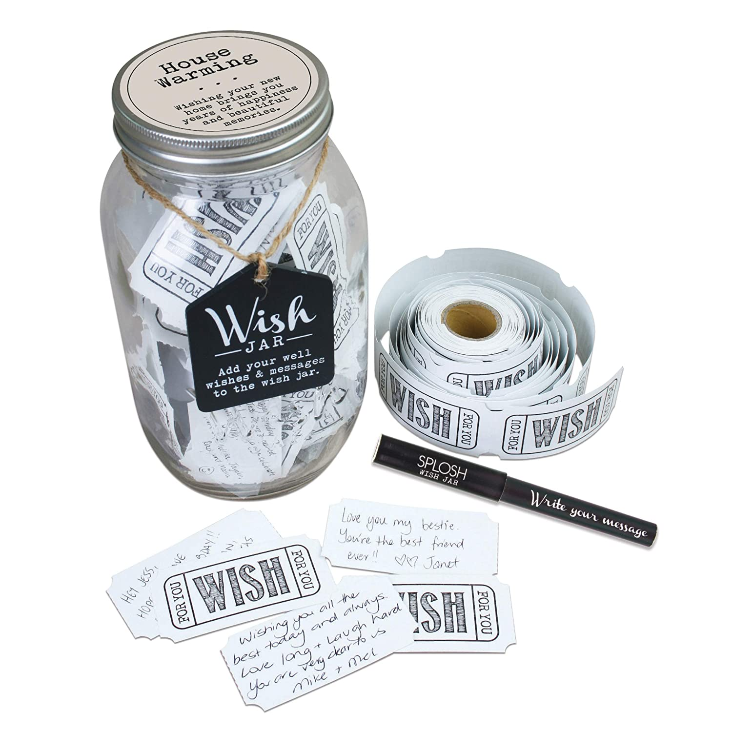 TOP SHELF House Warming Wish Jar ; Unique Gift Ideas for Men & Women ; Novelty Gifts for New Homeowners ; Kit Comes with 100 Tickets and Decorative Lid