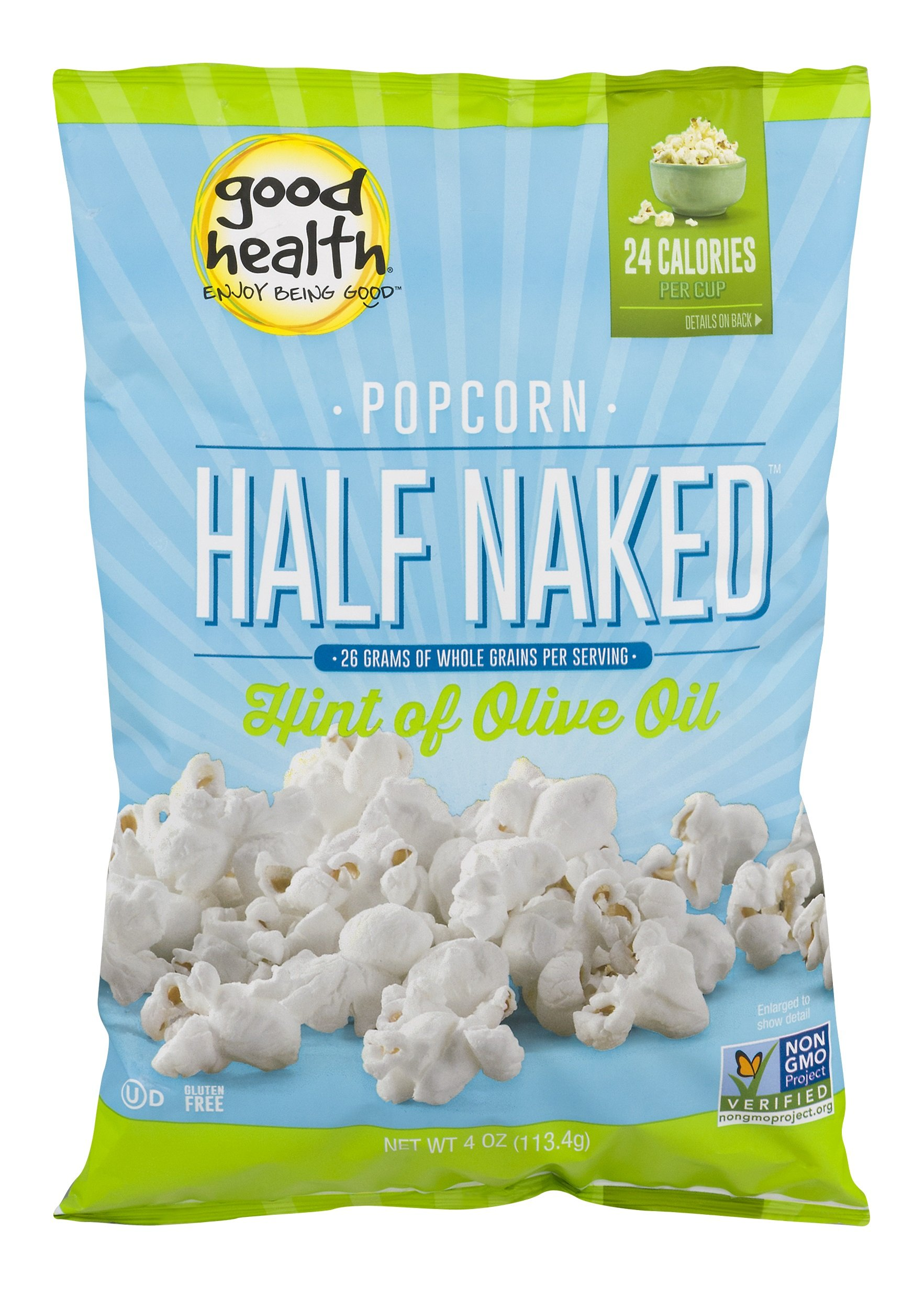 Good Health Half Naked Popcorn with a Hint of Olive Oil, 4-Ounce Bags (Pack of 9) by Goodhealth