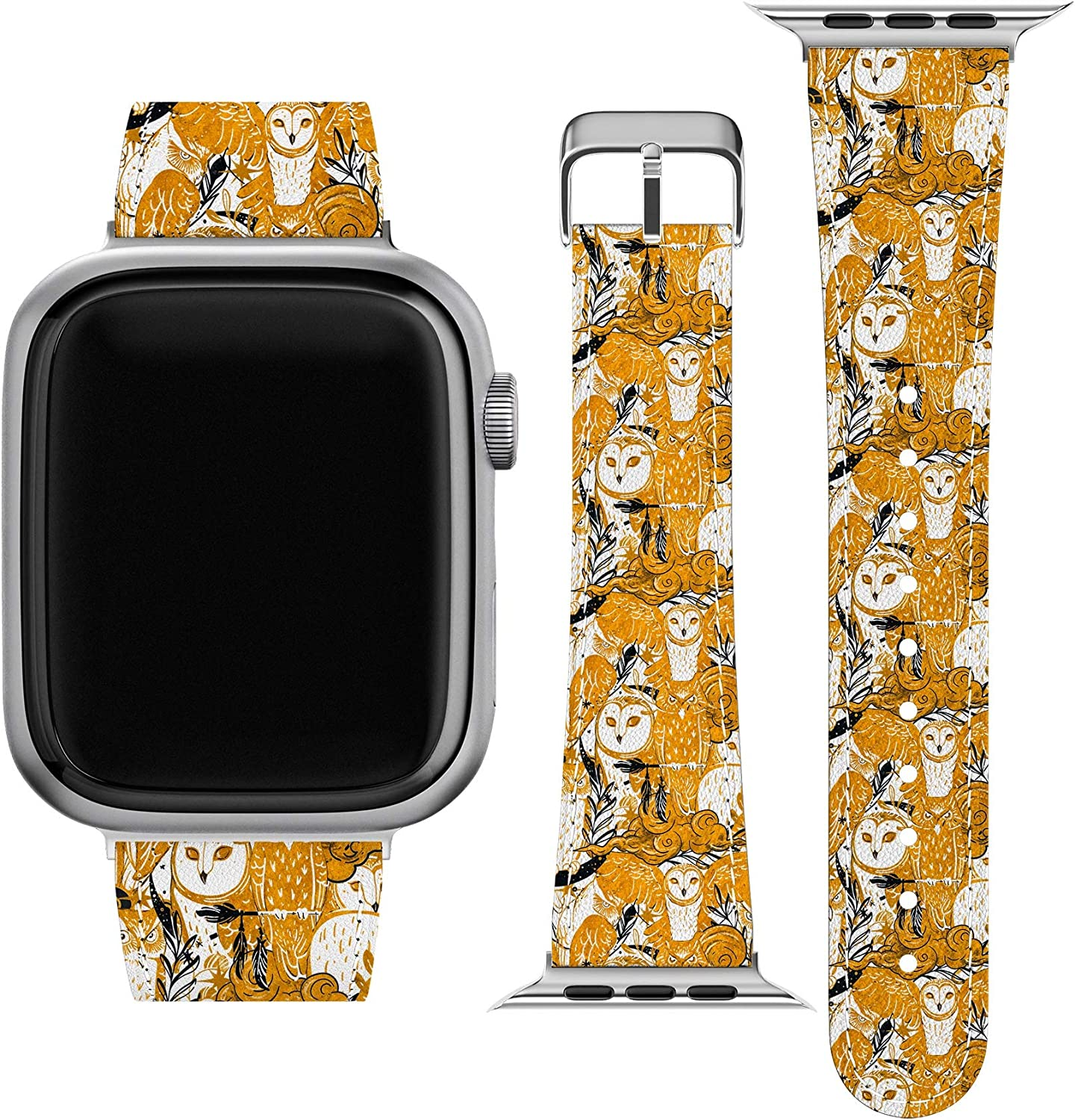 Lex Altern Band Compatible with Apple Watch Series 6 SE 5 4 3 2 1 38mm 40mm 42mm 44mm Golden Birds Barn Owls Wristband Celestial Replacement Strap for iWatch Vegan Leather Stylish Moon Abstract wh168