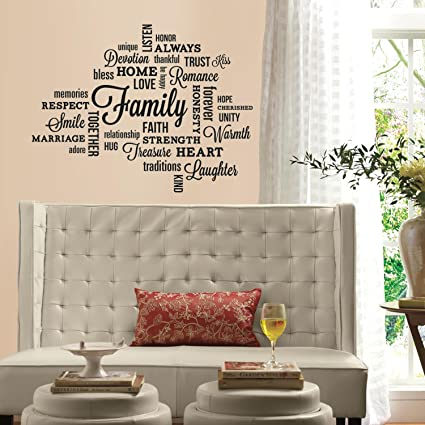 dade5c6ff977 RoomMates Family Quote Peel And Stick Wall Decals - - Amazon.com
