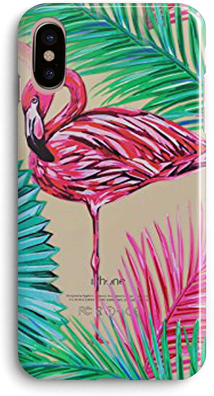 Compatible iPhone X Case,Aloha Summer Beach Pink Girly Bahama Leaf Neon Flamingo Cute Tropical Pink Animal Bird Flowers Beach Floral Hawaii Palm Tree Overload Girls Women Clear Soft iPhone X/Xs Case