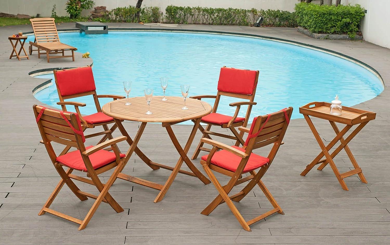 Balcón Muebles de Jardín Mesa 1 100 cm y 4 sillas plegables con reposabrazos y 4 cojines Sets: Amazon.es: Jardín