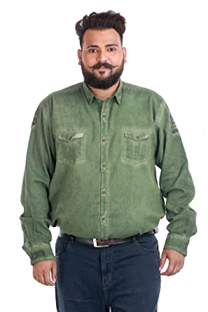afa291718716b Xmex Casual Wear Full Sleeves Green Color Regular Fit Cotton Size  3XL Plus  Size Shirt  Amazon.in  Clothing   Accessories