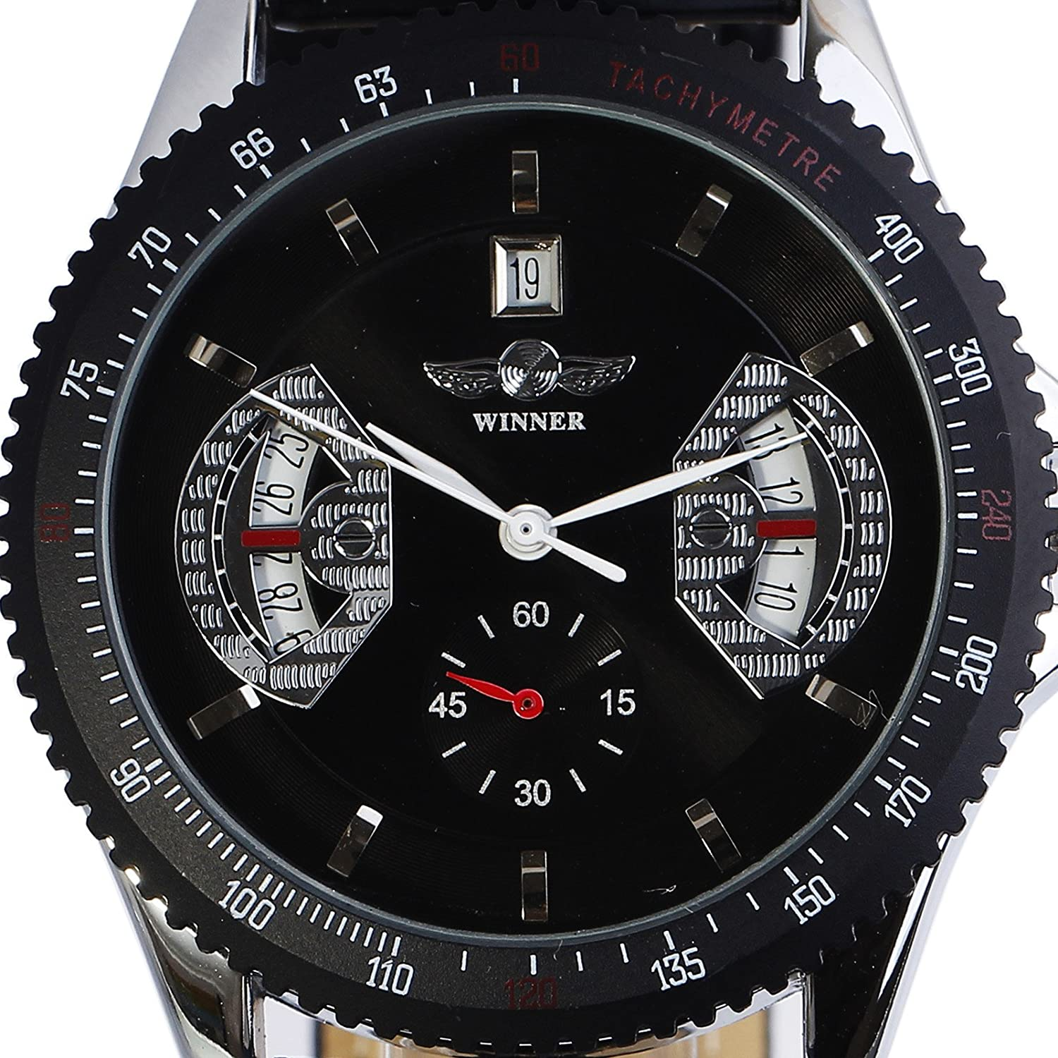 Amazon.com: Headsome Mens Skeleton Mechanical Watch Vintage Black Leather Band Male Relojes: Watches