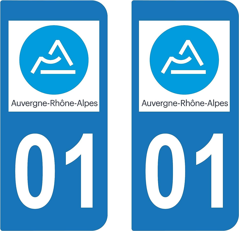 2 STICKERS PLAQUE AUTO IMMATRICULATION DEPARTEMENT 63 LOGO AUVERGNE RHONE ALPES