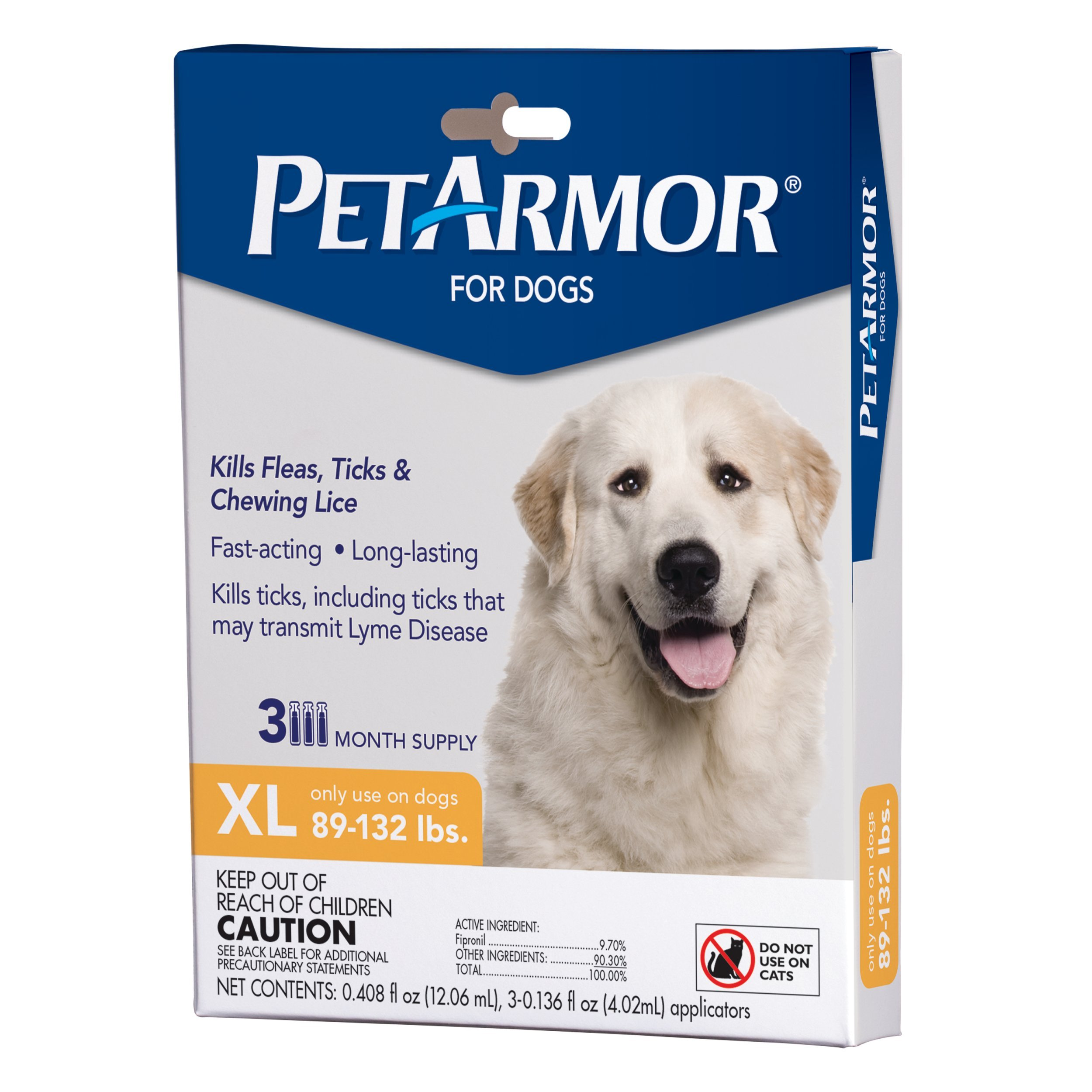 PETARMOR Squeeze on Dog Flea and Tick Repellent, 3 Month Pack for 89 to 132-Pound