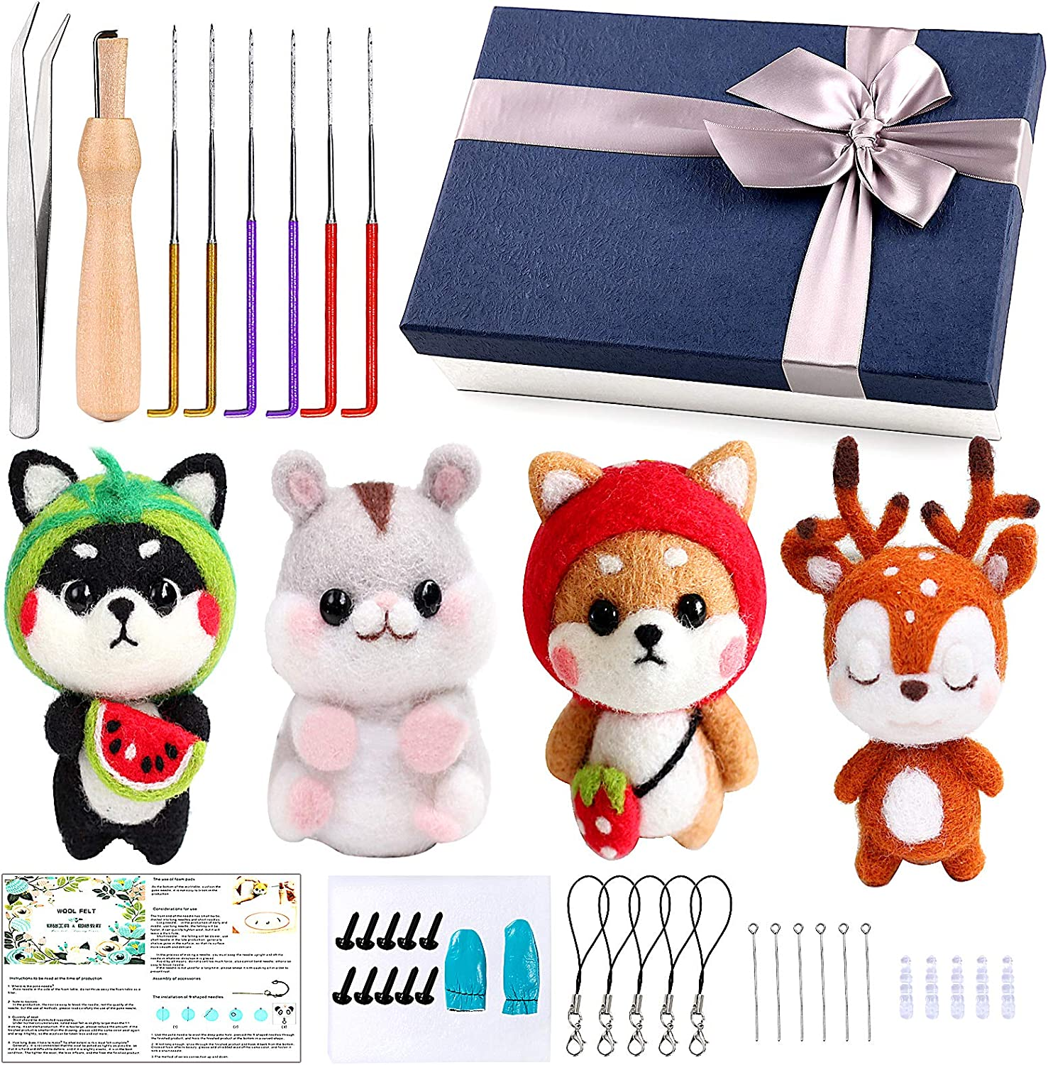 Home Decorations DIY Needle Felting Kit for Beginners Adults,Wool Roving with Complete Felt Tools Needle Felting Starter Kit for Craft Animal Wool Felting Supplies Gift Children/'s Day Festival