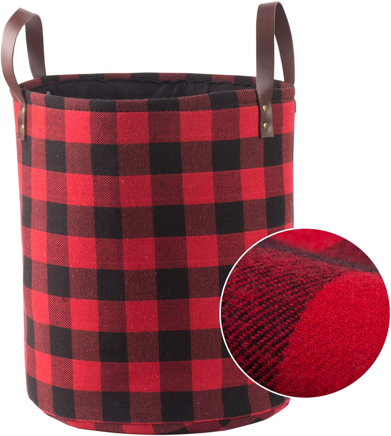 "Collapsible Decorative Storage Basket or Bin with Leather Handles, Woolen Fabric Foldable Tote Bags, Home Organizer Solution for Bedroom, Closet, Toys, Laundry (Medium Round-11"" X 13""), Red Black Grid"