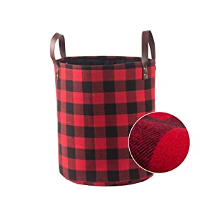 """Collapsible Decorative Storage Basket or Bin with Leather Handles, Woolen Fabric Foldable Tote Bags, Home Organizer Solution for Bedroom, Closet, Toys, Laundry (Medium Round-11"""" X 13""""), Red Black Grid"""