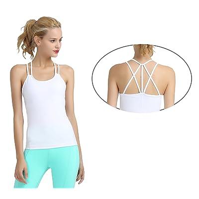 52a714178b Sythyee Women s Workout Yoga Cami Tank Top Cross Spaghetti Strap Built-in  Shelf Bra