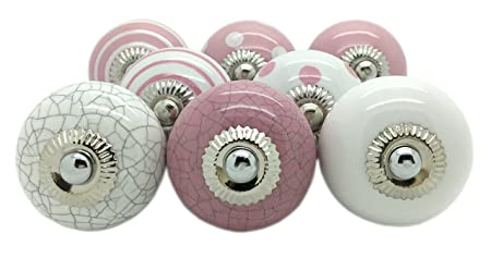 G Decor 8 X Pink Ceramic Door Knobs Vintage Shabby Chic Cupboard Drawer  Pull Handles