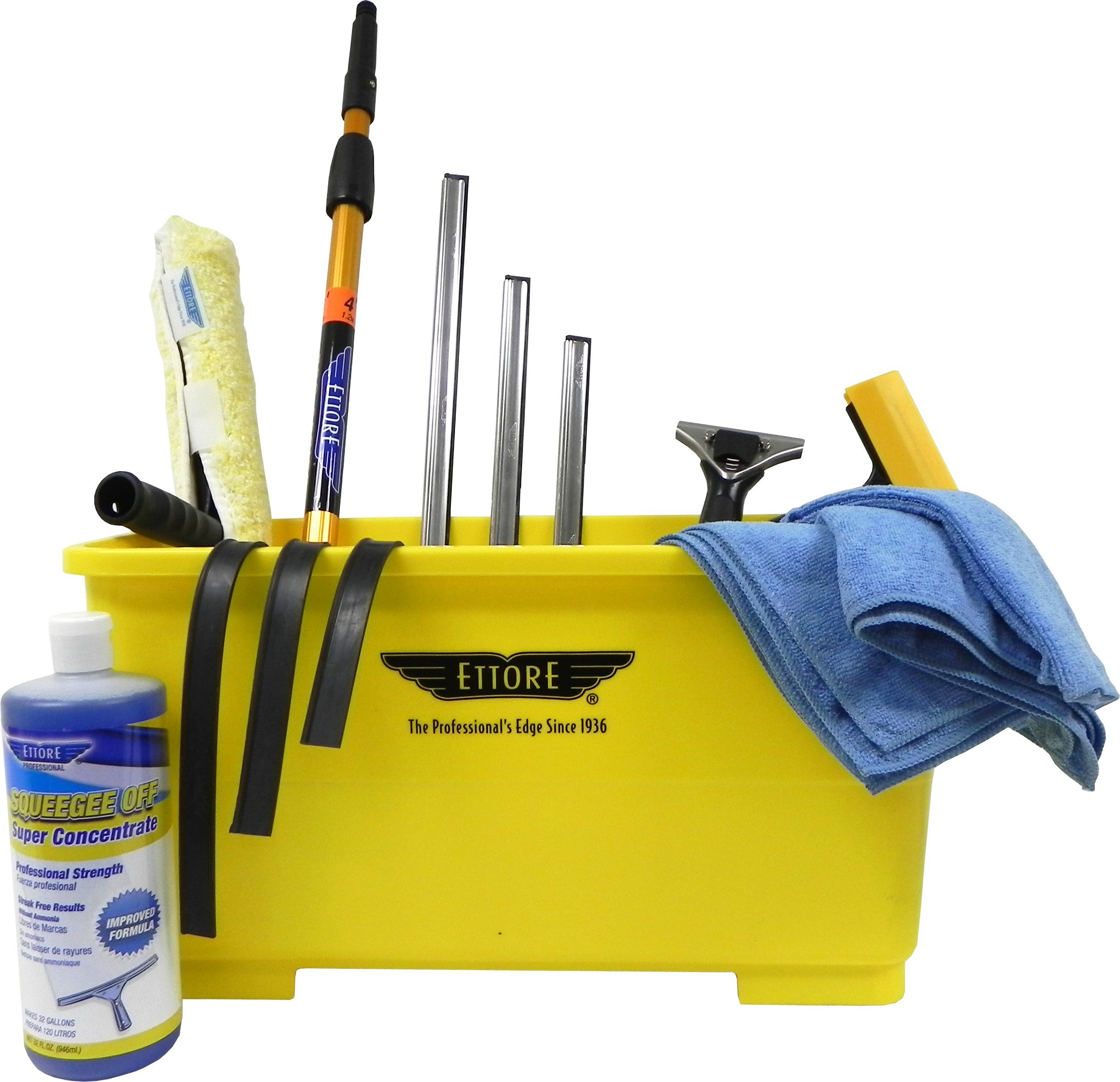 Ettore Professional Window Cleaning Kit with 8' Extension Pole