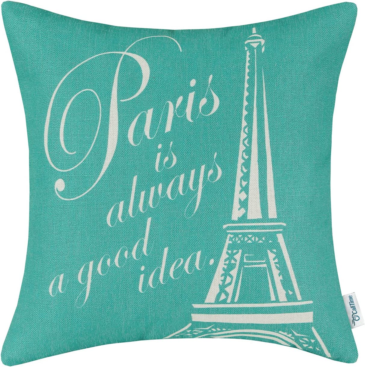 CaliTime Canvas Throw Pillow Cover Case for Couch Sofa Home Decoration Famous Paris Eiffel Tower 18 X 18 Inches Teal