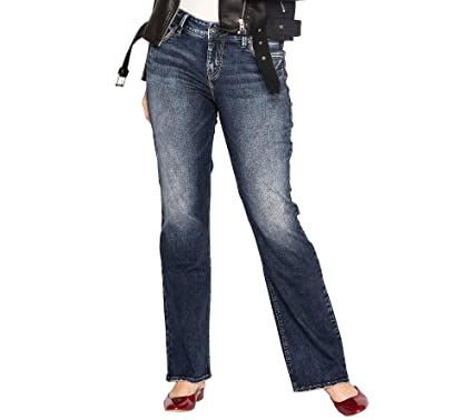 77cd3bef Silver Jeans Women's Plus Size Avery Curvy Fit High Rise Bootcut, Dark  Wash, 24x33