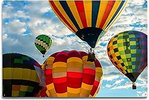 Lantern Press Albuquerque, New Mexico Hot Air Balloon Festival Photography A-90694 (12x18 Aluminum Wall Sign, Metal Wall Decor Ready to Hang)
