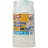 Glad for Pets Disposable Feeding Bowls   Large Dog Bowls in Teal Pattern   3.5 Cup Feeding Size, 25Count