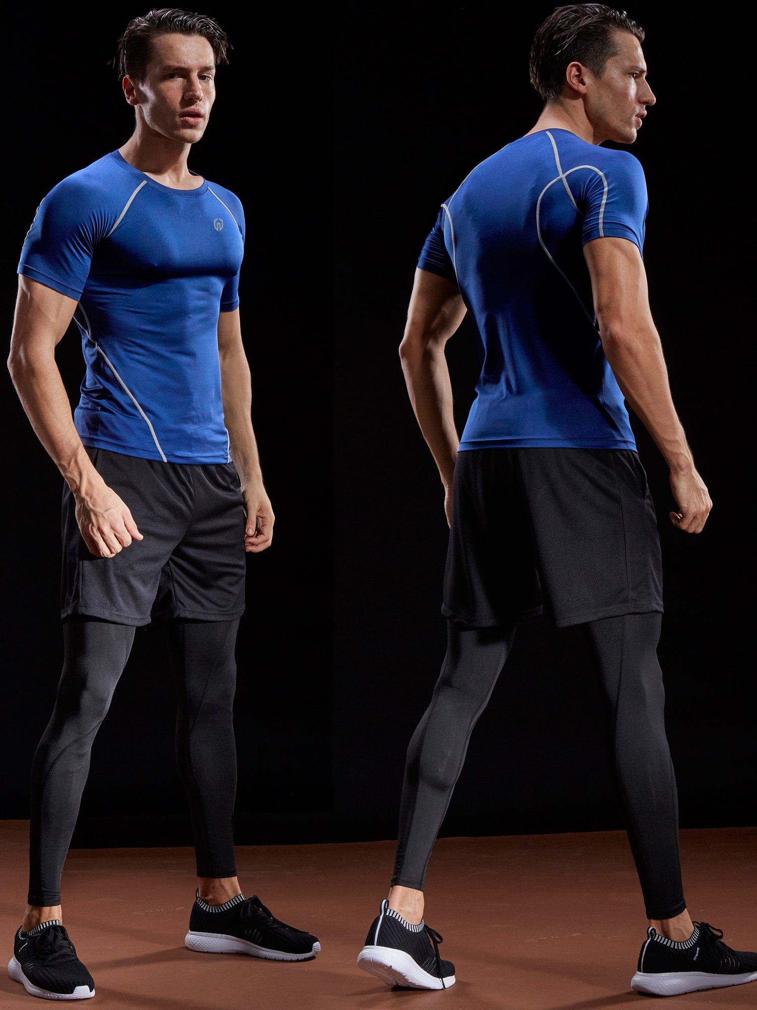 Neleus Men's 3 Pack Compression Baselayer Athletic Workout T Shirts,5022,Black,Grey,Red,S,EU M by Neleus (Image #5)
