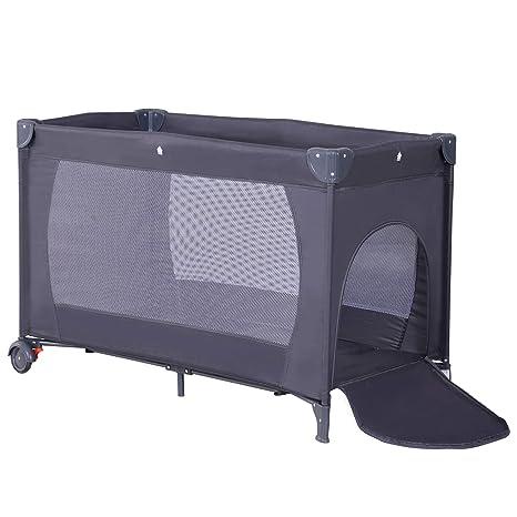 Homcom - Cuna de viaje plegable para niños, cama de viaje con colchón + ruedas