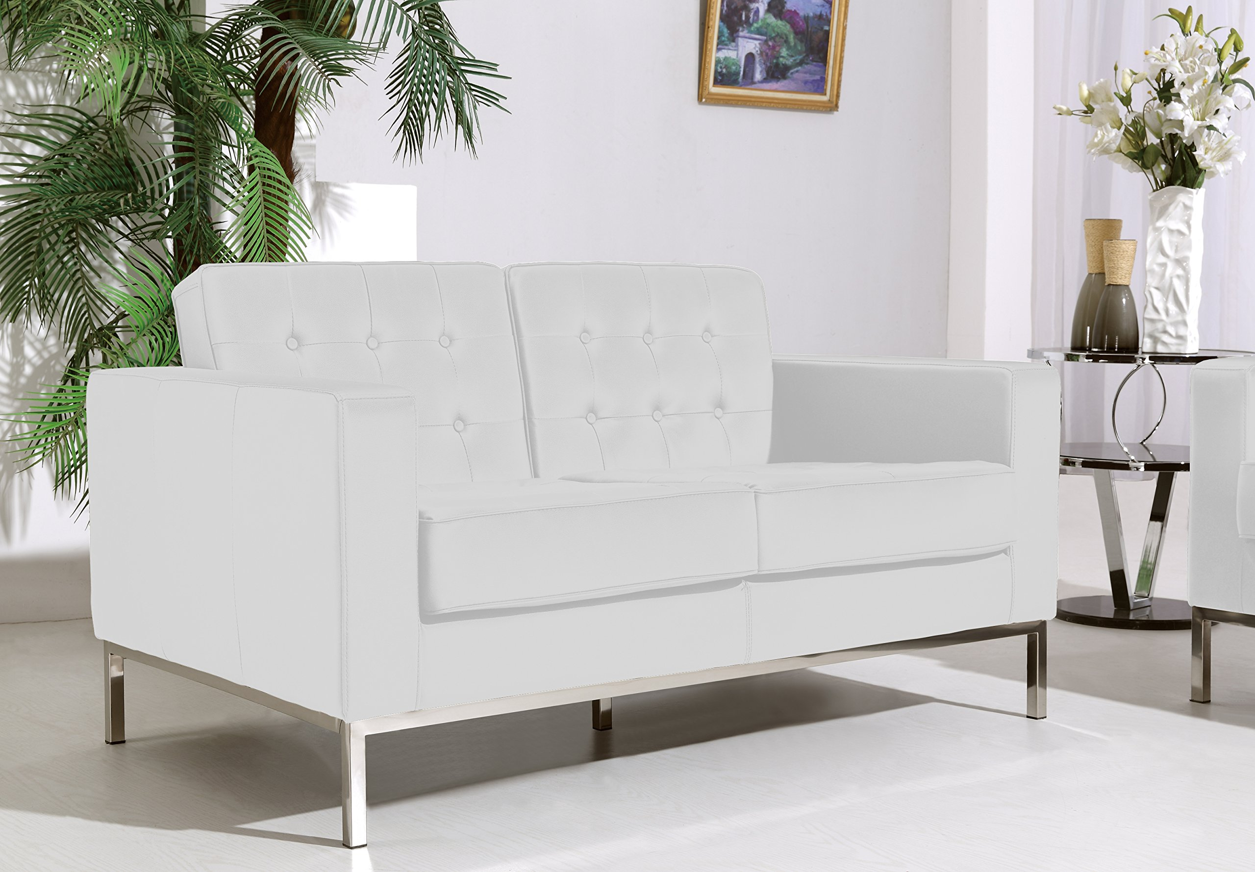 At Home Ahu-055-Wht-11 Sylvania White Loveseat