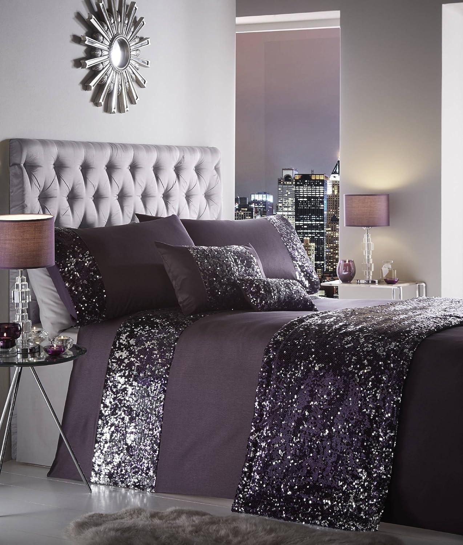 Portfolio Luxury Sparkling Sequin Quilted Bed Runner Throw 50Cm X 220Cm - Dazzle Amethyst