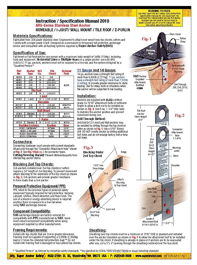 Super Anchor Safety 2811 Super Z Purlin Anchor Kit