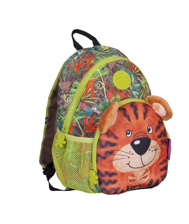 okiedog wildpack Junior 86003 Mochila para niños con cinturón de Pecho Dinosaurio, roja