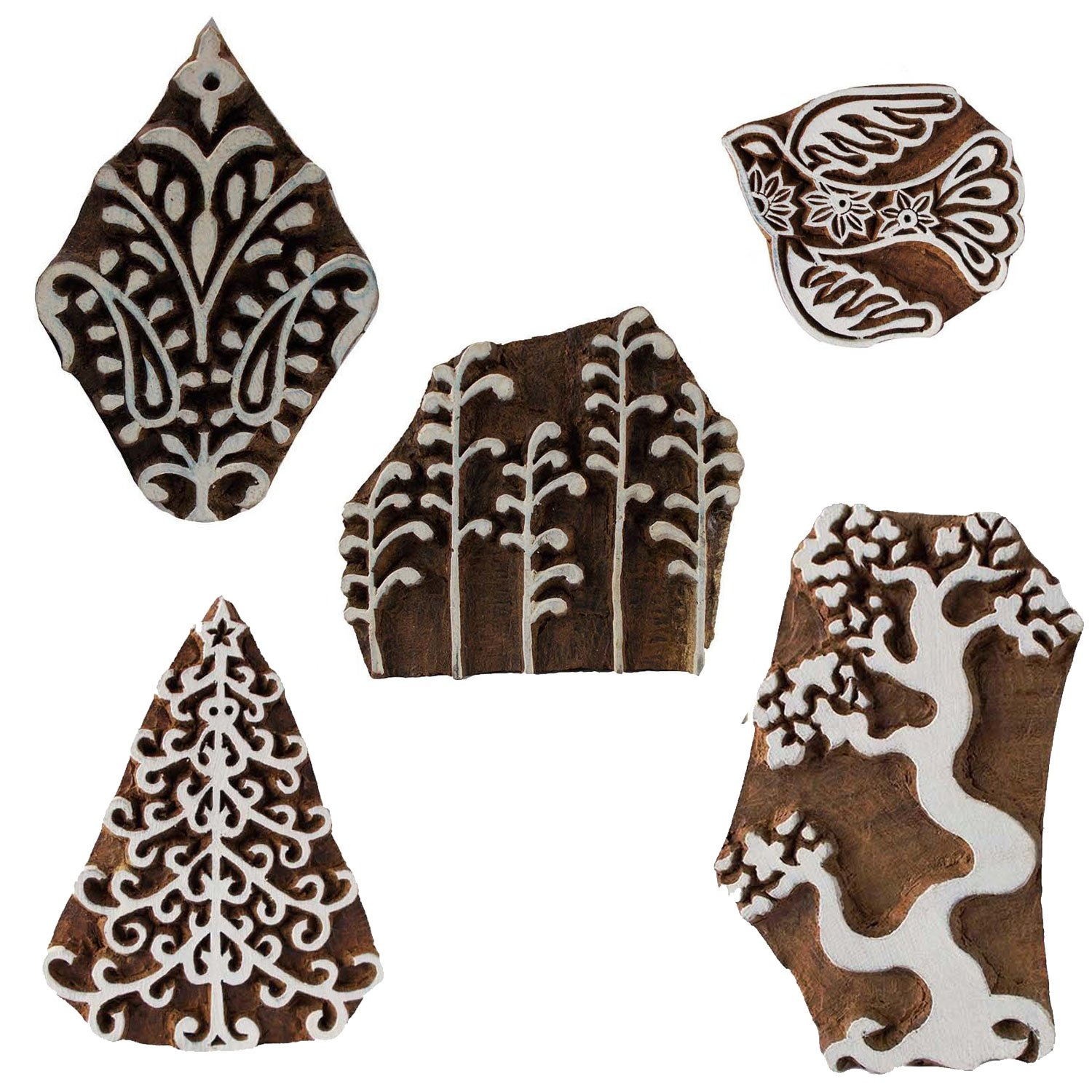 Pack of 5 Wooden Textile Handmade Christmas Tree Bird Floral Printing Block Clay Potter Craft Scrapbook Stamps