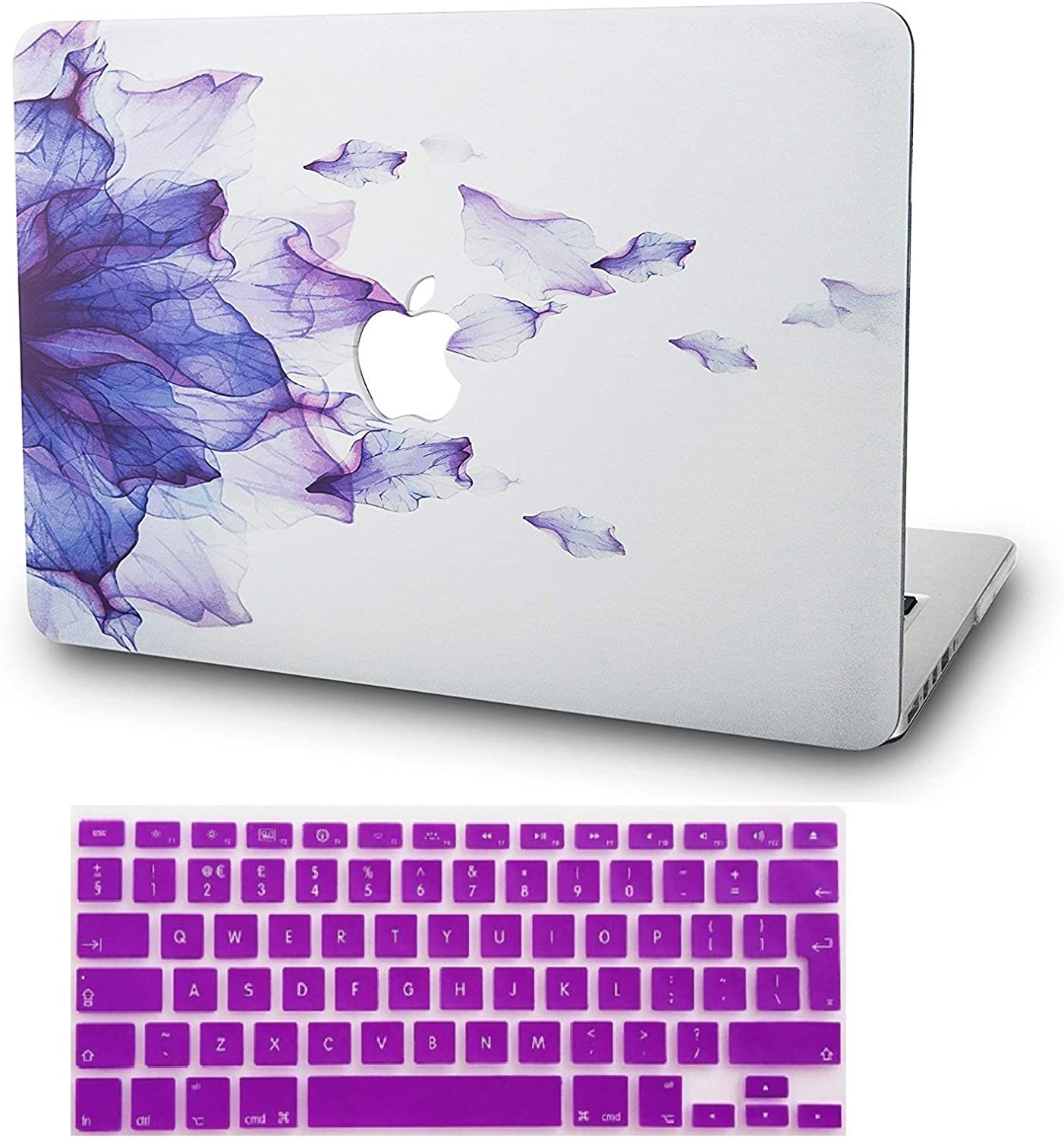 """KECC Laptop Case for MacBook Pro 13"""" (2020/2019/2018/2017/2016) w/Keyboard Cover Plastic Hard Shell A2159/A1989/A1706/A1708 Touch Bar 2 in 1 Bundle (Purple Flower)"""