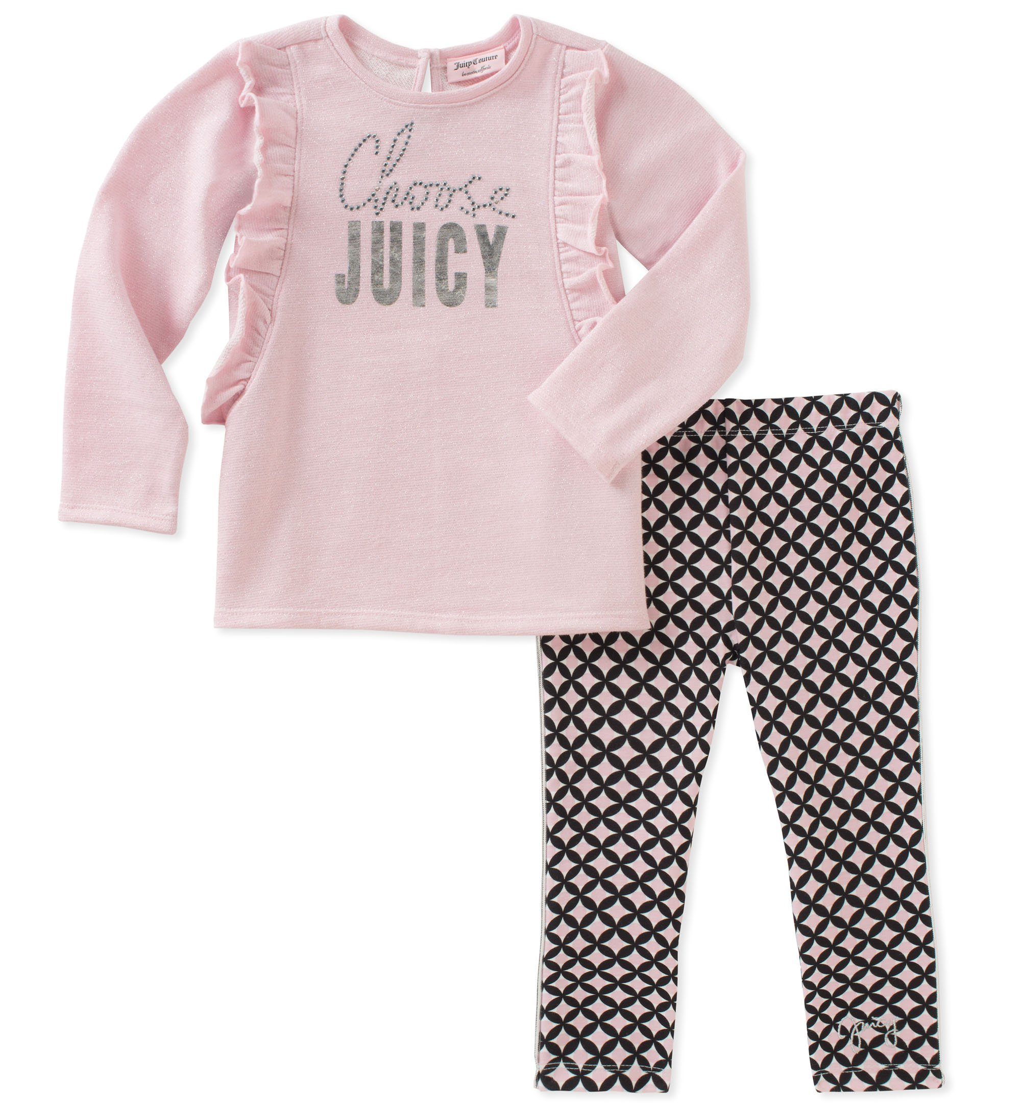 Juicy Couture Girls' Big 2 Pieces Long Sleeves Tunic Set, Pink 7
