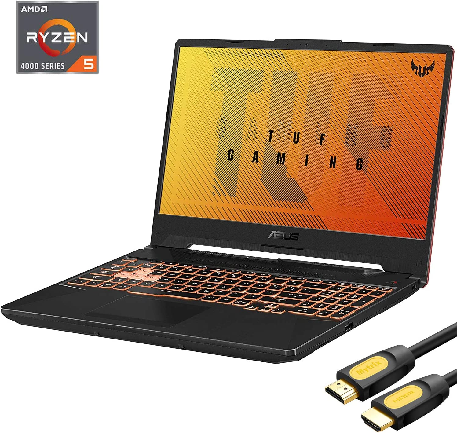 "ASUS TUF A15 Gaming 144Hz Laptop, 15.6"" FHD IPS-Type, AMD Ryzen 5 4600H 6-Core up to 4.0 GHz, GTX 1650, 16GB RAM, 512GB SSD+1TB HDD, RGB KB, RJ-45, Mytrix HDMI Cable, Win 10"