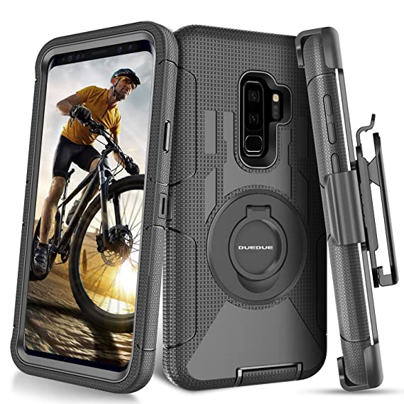 wholesale dealer 65b1f 944d8 Galaxy S9 Plus Case,DUEDUE Ring Kickstand Belt Clip Holster,Shockproof  Heavy Duty Hybrid Hard PC Soft Silicone Full Body Rugged Protective Case  for ...