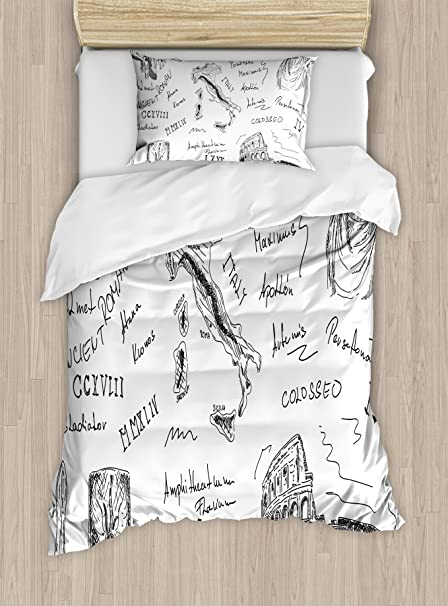 Ambesonne Toga Party Twin Size Duvet Cover Set, Ancient Roman Period Icons Caesar Colosseum Gladiator