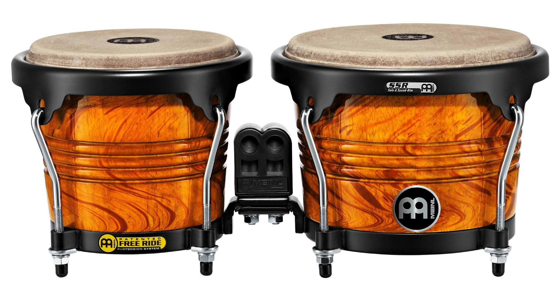 Meinl Percussion FWB190AF Free Ride Series Wood Bongos, Amber Flame Finish by Meinl Percussion