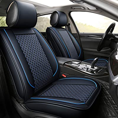 INCH EMPIRE Car Seat Cover-Football Liner Half Perforated Leatherette Cushion Fit for Forester Legacy Outback WRX Crosstrek Hybrid Tacoma FJ Cruiser RAV4 Corolla Matrix Kona Avalon(2 Front Black&Blue): Automotive