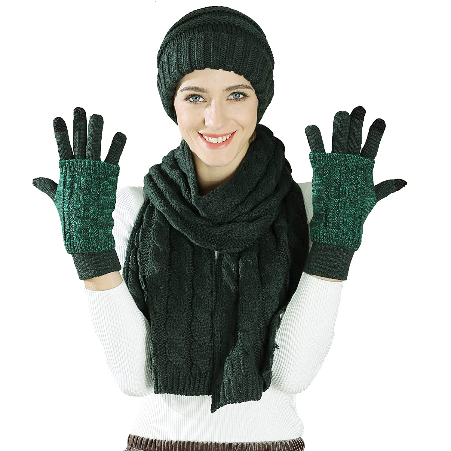Scarf Hat Glove Set-Soft Stretch Warm Thick Cable Knit Hat Cap Beanie Mitten Scarf Touchscreen Gloves Fashion 3 in 1 Winter Cold Gift Set