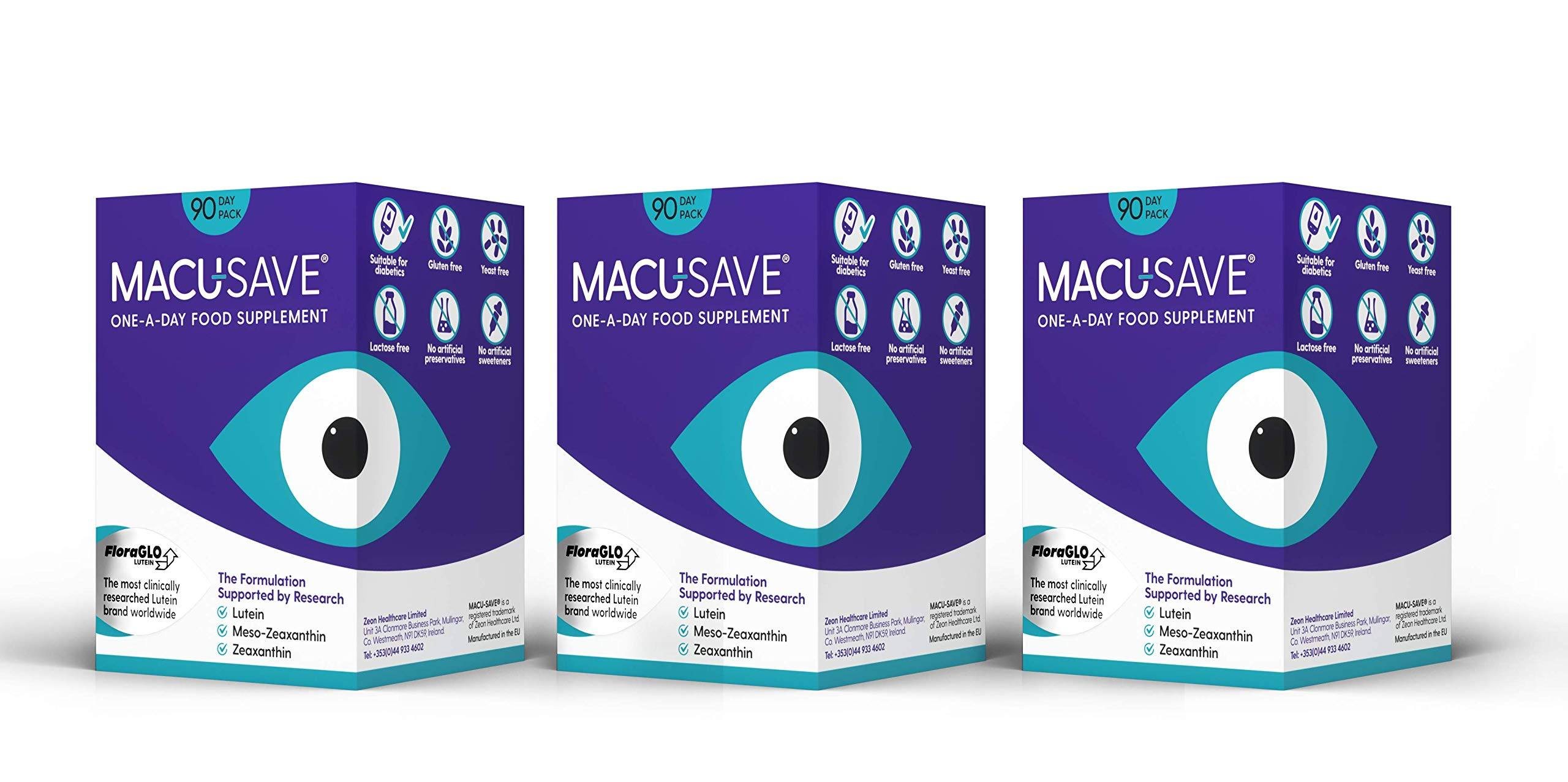 Macu-SAVE Food Supplement for Macular Health with Meso-Zeaxanthin/Lutein and Zeaxanthin - Pack of 90 X 3