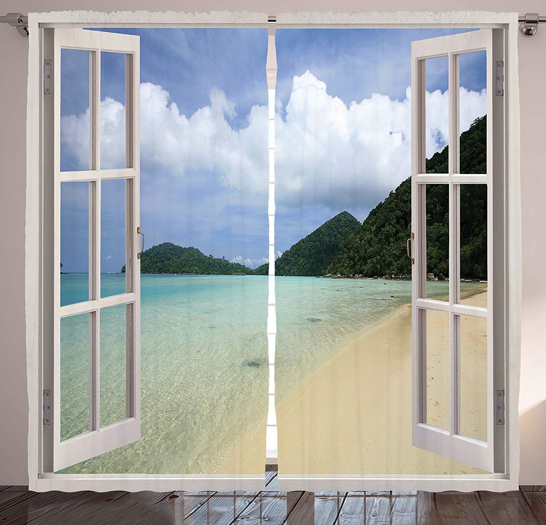 VamJump オープンウィンドウの装飾遮光カーテン垂帘 窗帘 昼夜目隠し 遮像 デコレーション 取り付け簡単、トロピカルアイランドビーチビュー、夢のような夏休みの風景デザイン、リビングルームのベッドルームに飾られた窓、青と緑 2枚組 幅100cm丈215cm 100cmx215cmx2 スタイル4 B07PSJMGS3