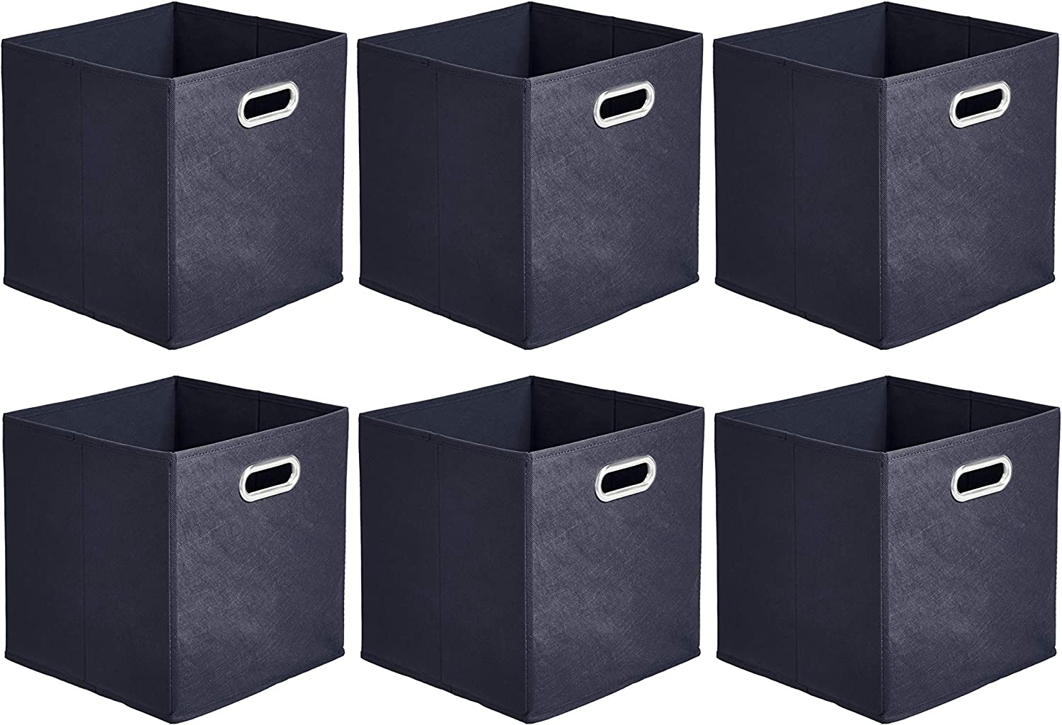 AmazonBasics Collapsible Fabric Storage Cubes with Oval Grommets - 6-Pack, Navy