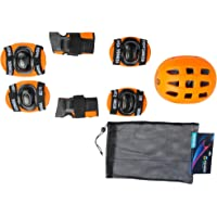 Ek Retail Shop Yonker 4 In 1 Skating Protective Kit ( Knee Guard Elbow Guard Wrist Guard And Plastic Helmet) YS-1402 Orange Color, Junior Size