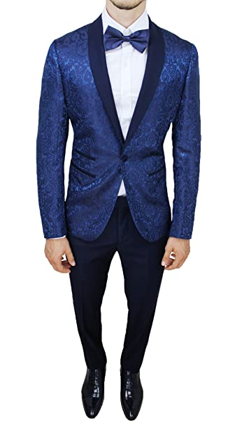 Abito completo uomo sartoriale blu tessuto raso damascato floreale slim fit  vestito smoking elegante  Amazon.it  Abbigliamento 1cbc0ba0559