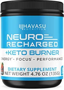 Havasu Nutrition Extra Strength Keto Brain Supplement for Energy & Focus - Mental Performance Nootropic & Pre Workout with Natural Caffeine, Ginkgo Biloba & More – Brain Booster 4.76 oz (135 G)