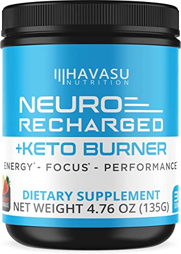 Havasu Nutrition Extra Strength Keto Brain Supplement for Energy Focus – Mental Performance Nootropic Pre Workout with Natural Caffeine, Ginkgo Biloba More Brain Booster 4.76 oz 135 G