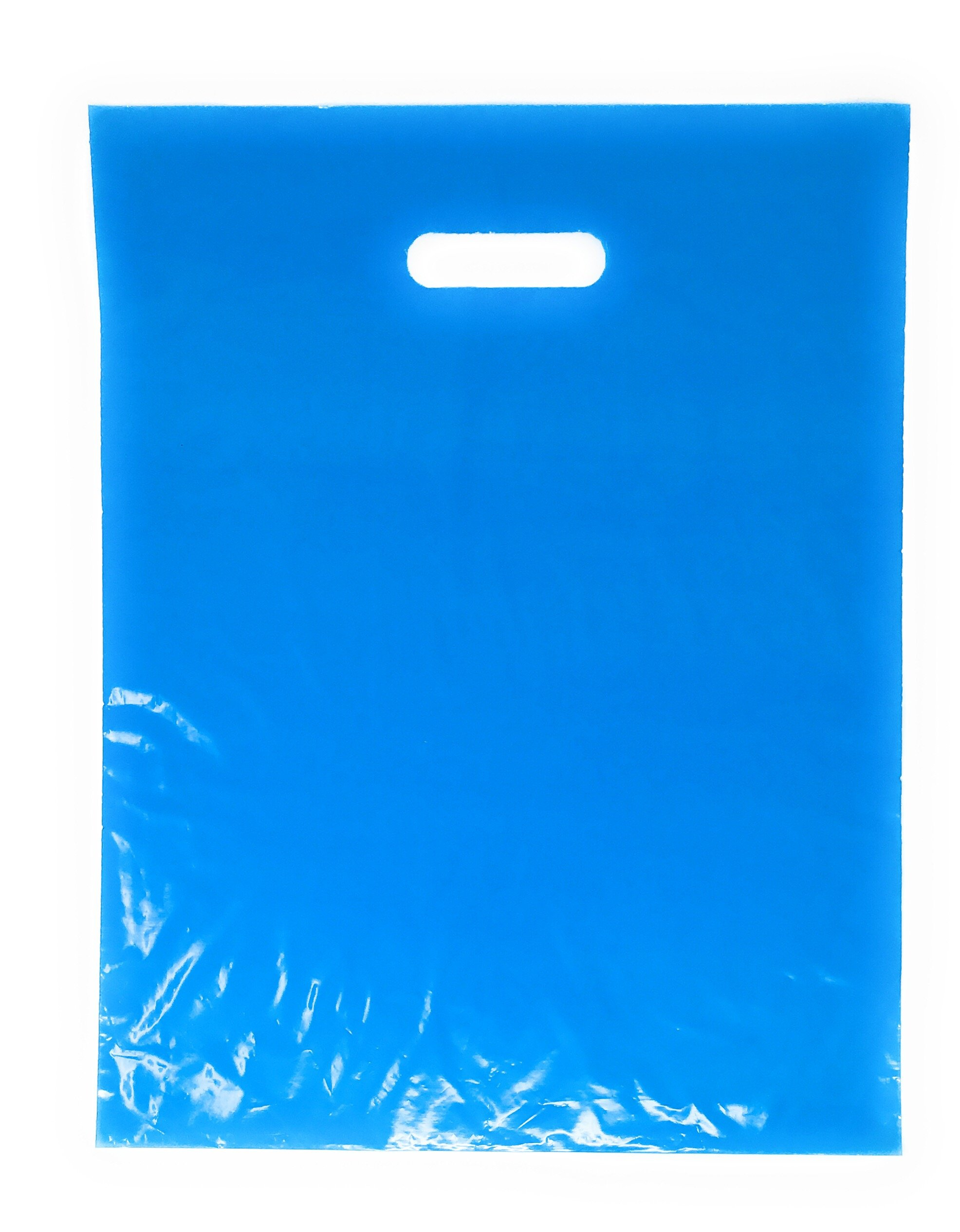 500 Pack 12'' x 15'' with 1.25 mil Thick Blue Merchandise Plastic Glossy Retail Bags | Die Cut Handles | Perfect for Shopping, Party Favors, Birthdays, Children Parties | Color Blue | 100% Recyclable
