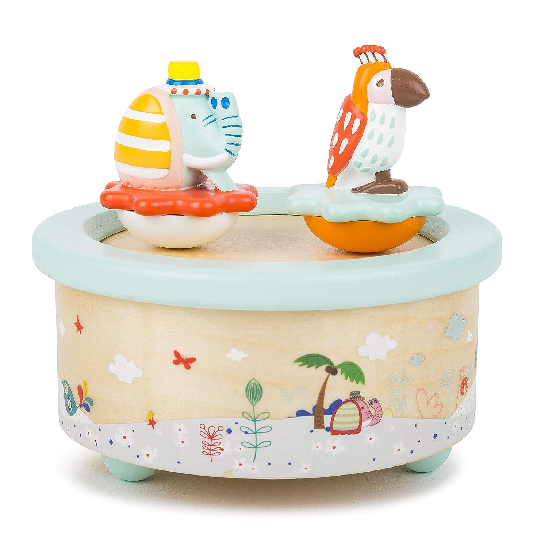 Small Foot 11108 by Legler Kinder Spieluhr Papagei und Elefant Modernes Design Pastel mit fantasievoll gestalteten Figuren in moderater Lautstärke Einschlafhilfe für Kleine Prinzessinnen, liebevoll koloriertes Holz mit Spritzgussfiguren Spielzeug, Mehrfarb