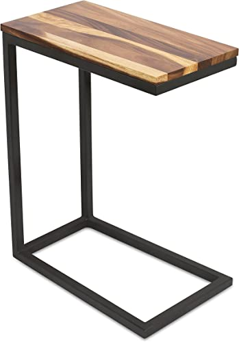 BirdRock Home Acacia Wood TV Tray C Shaped Side Table