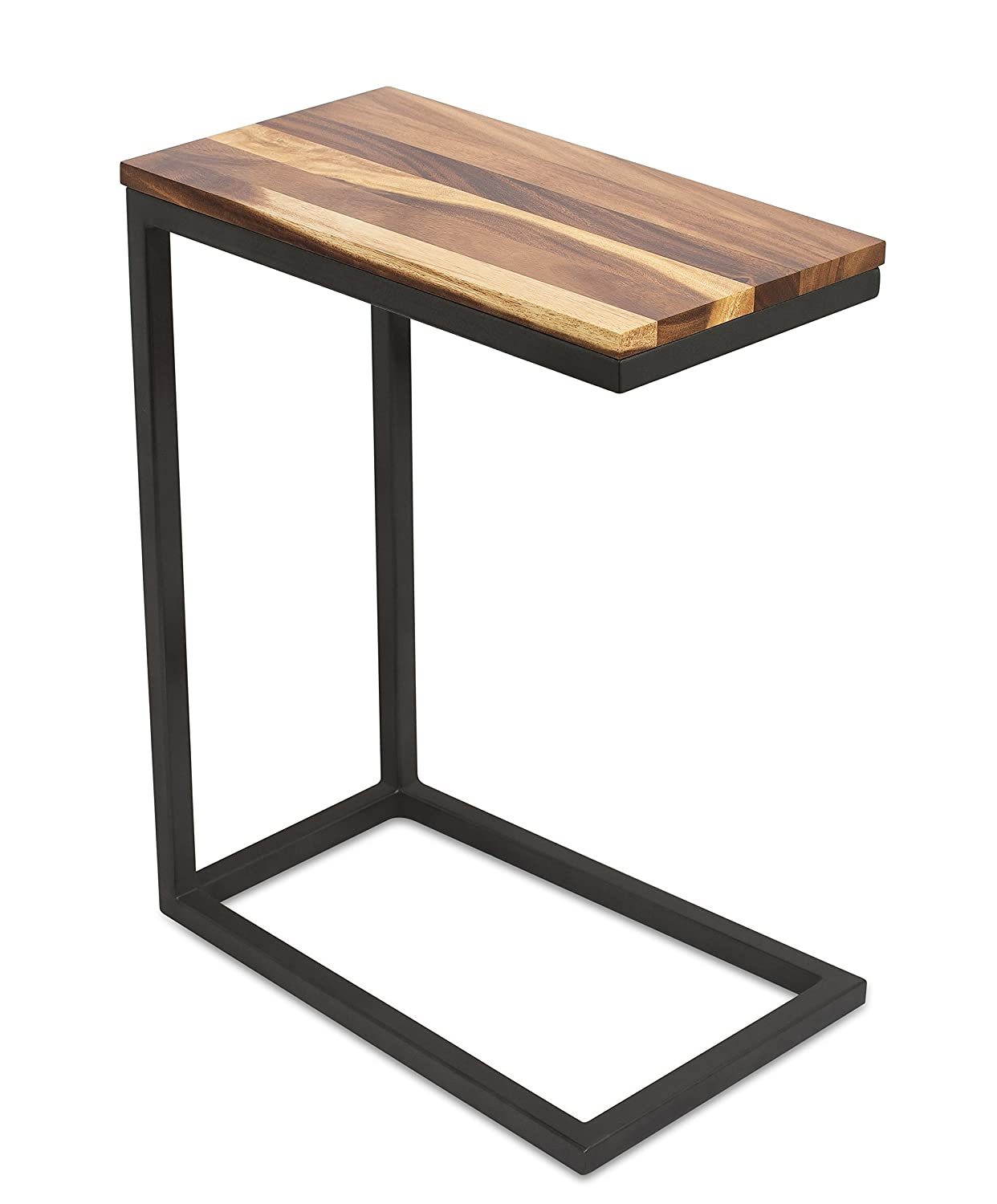 BIRDROCK HOME Acacia Wood TV Tray Side Table - Industrial Design - Fully Assembled - Natural Wood Bed Sofa Snack End Table