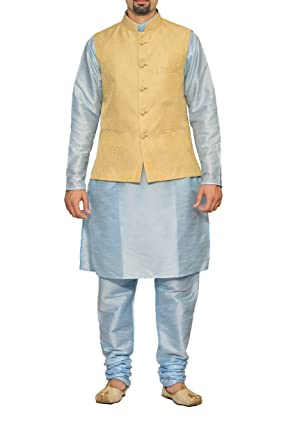 fed996ff4d Uri and MacKenzie Men's Dupion Silk Cyan Sky Blue Matching Kurta Pyjama  with Gold Jacket ethnic
